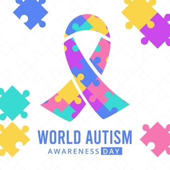 Ilustração do dia de consciência do autismo no mundo plano