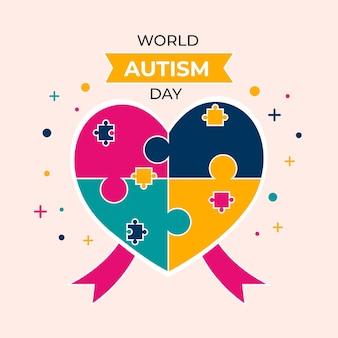 Ilustração do dia de conscientização do autismo no mundo plano