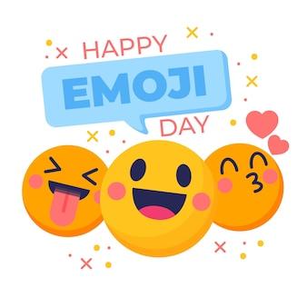 Ilustração do dia de emoji do mundo plano