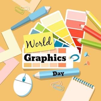Ilustração do dia de gráficos do mundo desenhado à mão