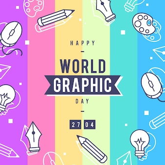 Ilustração do dia de gráficos do mundo plano