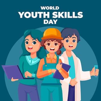 Ilustração do dia de habilidades juvenis do mundo plano orgânico