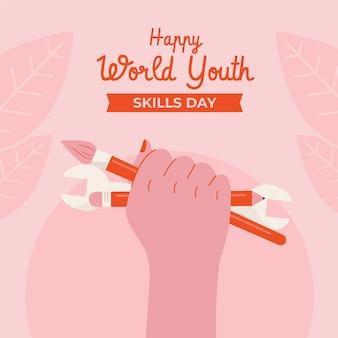 Ilustração do dia de habilidades juvenis no mundo plano