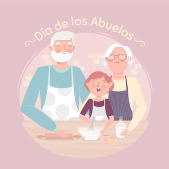 Ilustração do dia de los abuelos com os avós