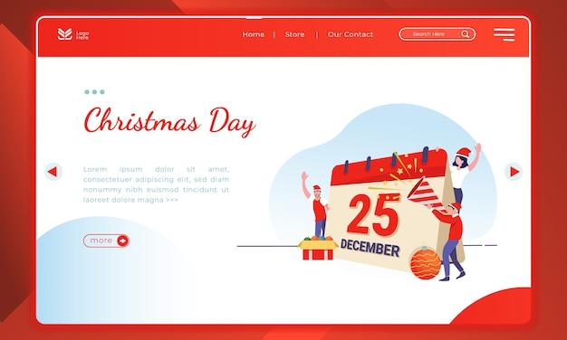 Ilustração do dia de natal no modelo de página de destino