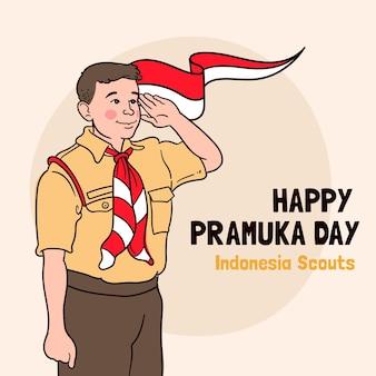 Ilustração do dia de pramuka desenhada à mão