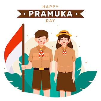 Ilustração do dia de pramuka plana