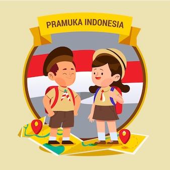 Ilustração do dia de pramuka