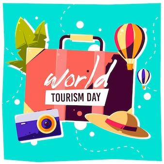 Ilustração do dia de turismo com diferentes elementos turísticos