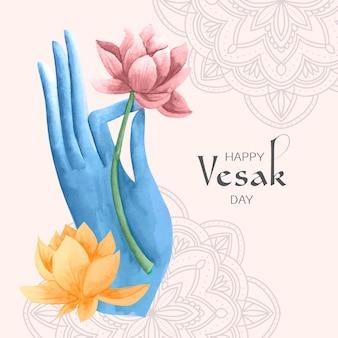 Ilustração do dia de vesak em aquarela