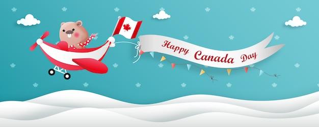 Ilustração do dia do canadá com castor bonito