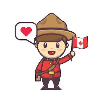Ilustração do dia do canadá com personagem fofa