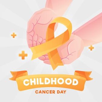 Ilustração do dia do câncer infantil com as palmas das mãos segurando uma fita