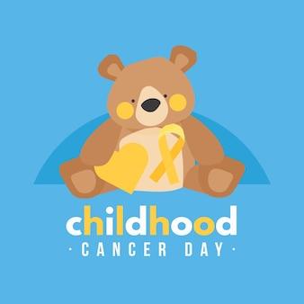 Ilustração do dia do câncer infantil com fita e ursinho de pelúcia