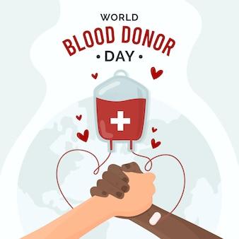 Ilustração do dia do doador de sangue no mundo plano