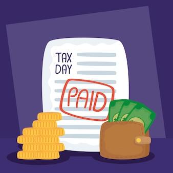 Ilustração do dia do imposto com recibo pago e dinheiro da carteira