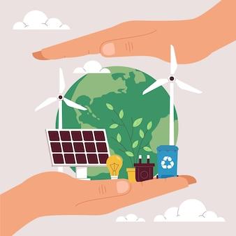 Ilustração do dia do meio ambiente mundial e orgânico salve o planeta