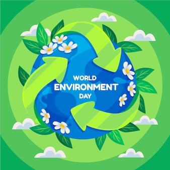 Ilustração do dia do meio ambiente no mundo plano