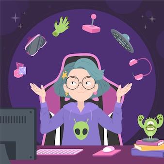Ilustração do dia do orgulho geek dos desenhos animados Vetor grátis