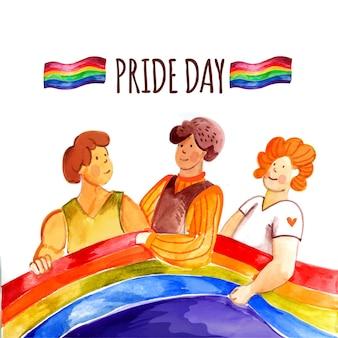 Ilustração do dia do orgulho pintada à mão em aquarela