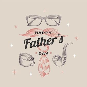 Ilustração do dia do pai de gravura desenhada à mão