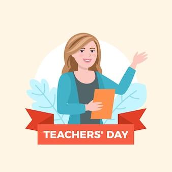 Ilustração do dia do professor de design plano com uma mulher ensinando