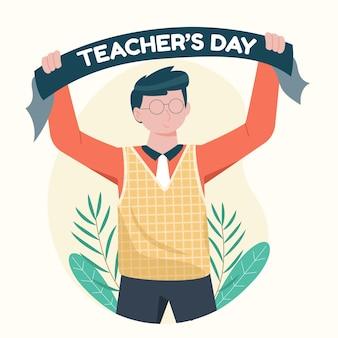 Ilustração do dia do professor de design plano