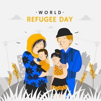 Ilustração do dia do refugiado no mundo plano orgânico