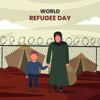 Ilustração do dia do refugiado no mundo plano