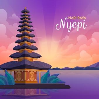 Ilustração do dia do silêncio de bali com templo