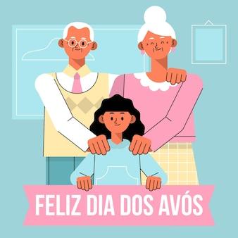 Ilustração do dia dos avos plana Vetor grátis