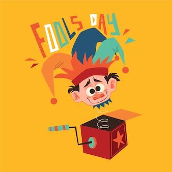 Ilustração do dia dos enganados com personagem engraçada