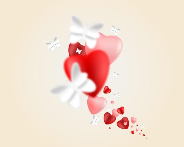 Ilustração do dia dos namorados com corações e borboletas