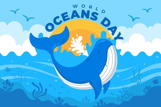 Ilustração do dia dos oceanos do mundo plano orgânico