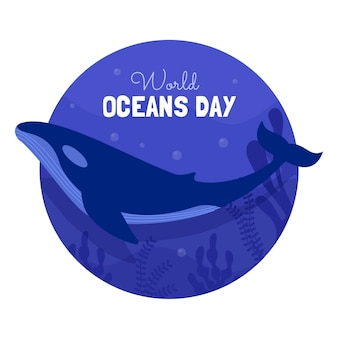 Ilustração do dia dos oceanos do mundo plano
