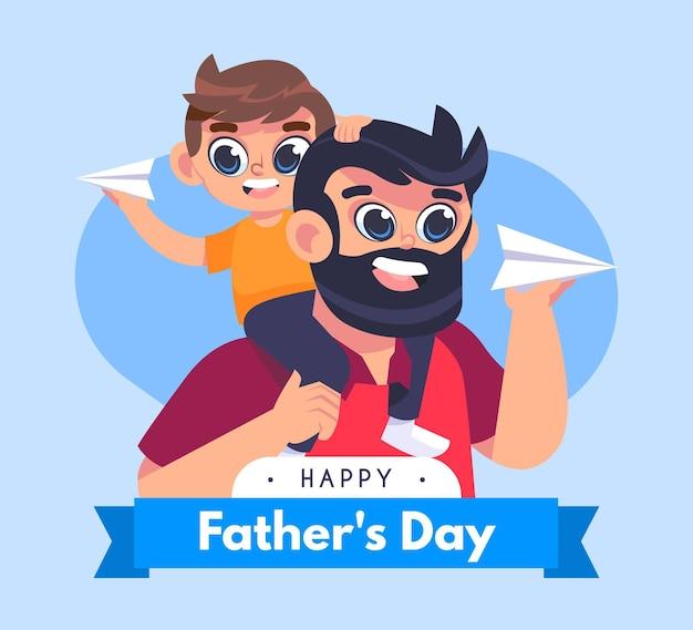 Ilustração do dia dos pais dos desenhos animados
