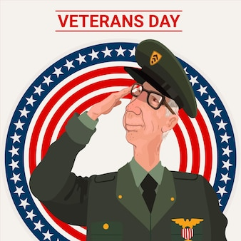 Ilustração do dia dos veteranos de design plano