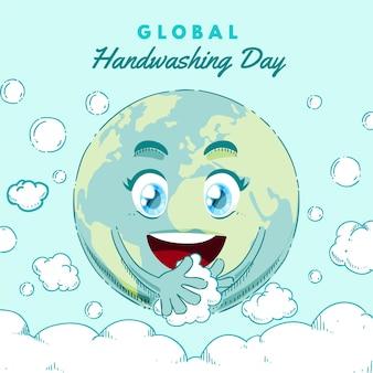 Ilustração do dia global de lavagem das mãos desenhada à mão