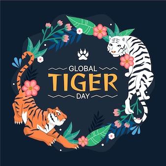 Ilustração do dia global do tigre desenhada à mão