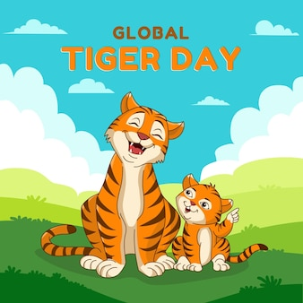 Ilustração do dia global do tigre dos desenhos animados