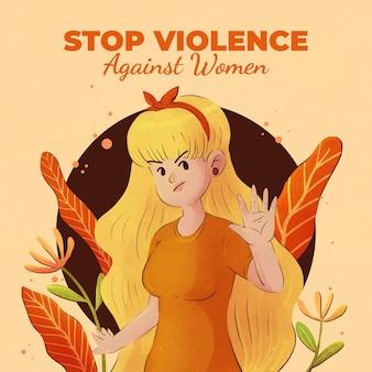 Ilustração do dia internacional da aguarela para a eliminação da violência contra a mulher
