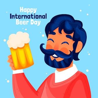 Ilustração do dia internacional da cerveja desenhada