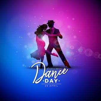 Ilustração do dia internacional da dança com o casal dançando de tango