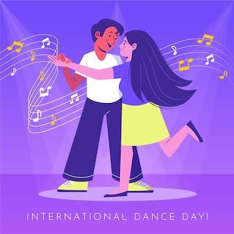 Ilustração do dia internacional da dança desenhada à mão com casal