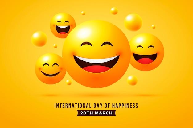 Ilustração do dia internacional da felicidade gradiente