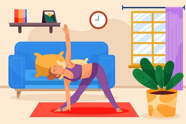 Ilustração do dia internacional da ioga dos desenhos animados