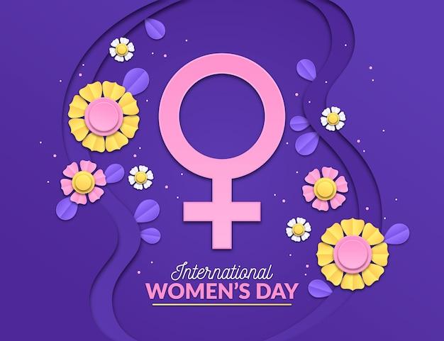 Ilustração do dia internacional da mulher com flores e símbolo feminino