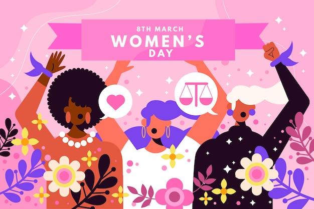 Ilustração do dia internacional da mulher com mulheres e flores
