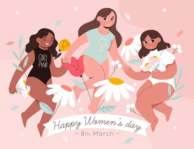 Ilustração do dia internacional da mulher com três mulheres e flores