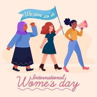 Ilustração do dia internacional da mulher desenhada à mão com mulheres com bandeira e megafone